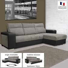 canapé convertible d angle canapé d angle réversible convertible pu microfibre noir et gris