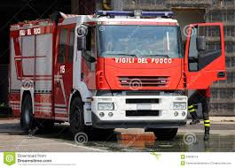 100 Red Fire Trucks Italian With Sirens Blue Ready For Emergency