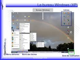 bureau windows le bureau windows xp bureau windows icônes menu démarrer ppt
