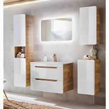 badezimmer unterschrank hängend luton 56 hochglanz weiß mit wotaneiche b x h x t ca 35 x 68 x 32cm