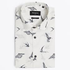allan dark bird print shirt white mens designer shirts