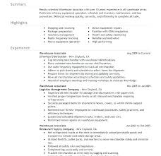 Sample Warehouse Management Resume