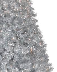 6ft Pre Lit Christmas Trees Black by Silver Stardust Tinsel Artificial Christmas Tree Treetopia