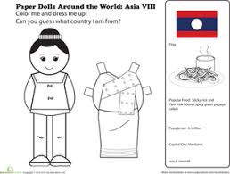 Paper Dolls Around The World Laos Coloring Page Education