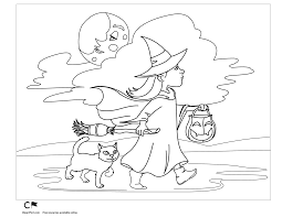 Little Witch Halloween Coloring Page