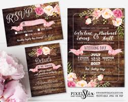 Rustic Wedding Invitation Wood With Watercolor Flowers Shabby Chic Invite Pink Peony And