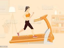 sportfrauen die mit laufen dem laufbandtraining trainieren im wohnzimmer die neue normalität über fitness zu hause stock vektor und mehr bilder