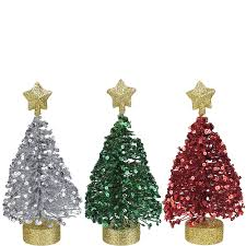 Sequin Christmas Tree Decorations 3ct Image 1
