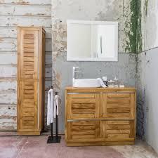 stehende badezimmermöbel aus bernstein und stahl teak briona