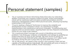 Example Statement For Of Resumes Personal