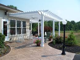 White Pergola Over Stamped Concrete Patio - Design Ideas ... Sugarhouse Awning Tension Structures Shade Sails Images With Outdoor Ideas Fabulous Wooden Backyard Patio Shade Ideas St Louis Decks Screened Porches Pergolas By Backyards Cool Structure Pergola Plans You Can Diy Today Photo On Outstanding Maximum Deck Pinterest Pergolas Best 25 Bench Swing On Patio Set White Over Stamped Concrete Design For Nz