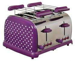 TKG 1009 PWD DESIGN STAINLESS STEEL FOUR SLICE TOASTER WITH EXTRA WIDE SLOTS PURPLE 220 VOLTS NOT FOR USA
