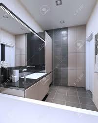 idee der badezimmer mit gemischten wände high tech innenleben eines der kontrastreiche innenraum des badezimmers wo lichter beige farbe und