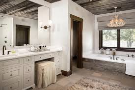 Chandelier Over Bathroom Vanity by Country Style Bathroom With Faux Antlers Chandelier Over Plank Tub