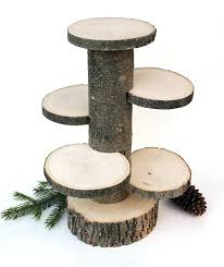 Wooden Cake Stand 4 Tiered Rustic Cup Wood Stands Centerpiece