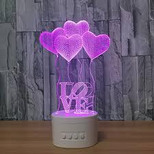 3d nachtlichter bluetooth lautsprecher musik le 4 herzform schlafzimmer le 5 farbe ändern romantische atmosphäre 3d le