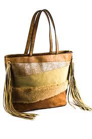 tassels fur multiple fabric layered tote bag agp handbags u0026 apparel