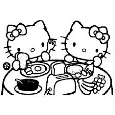Hello Kitty And Mimmy At School Coloring Pages