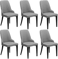 dictac esszimmerstühle 6er set 2er 4er küchenstuhl polsterstuhl leinen stuhl wohnzimmerstuhl grau stoff stuhl esszimmer mit lehne schwarz metall