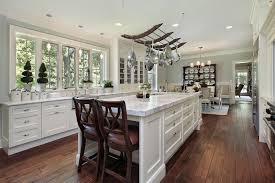 Great Design Of Kitchen Interior With Dark Wood Island Interactive Parquet Flooring