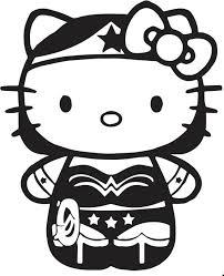 Wonder Woman Hello Kitty Coloring Sheet SuperHero SuperHeroes Hero Heroes