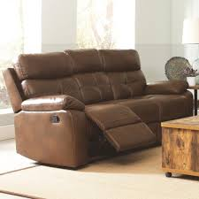 Coaster Damiano Casual Faux Leather Reclining Sofa with Button