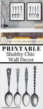 PRINTABLE Shabby Chic Wall Decor These Two Vintage Spoon Pictures Make