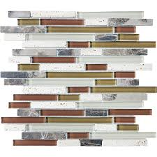 shop cranberry linear mosaic and glass travertine wall tile