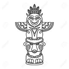 Doodle Tribal Traditionnel Totem Pole Isolé Sur Fond Blanc Livre De