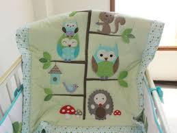 Sale Baby Bedding Set Embroidery Cartoon Owls Bird Hedgehog