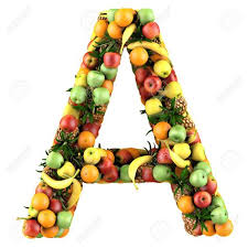 Letter A Made Fruits Isolated A White Stock