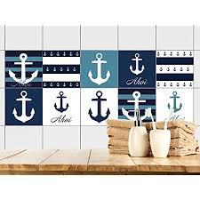 fliesenaufkleber 15x15 cm badezimmer in blau mit anker maritim fliesenbilder für bad blau weiß gestreift fliesen zum aufkleben bad