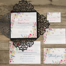 Colorful Spring Flower Black Laser Cut Wedding Invitations EWWS075