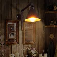 Vintage Wall Sconce Industrial Style Lamp Rustic Water Pipe Wooden Candle Sconces