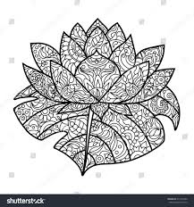 Lotus Water Lily Flower Coloring Book For Adults Raster Illustration Zentangle Style Black And