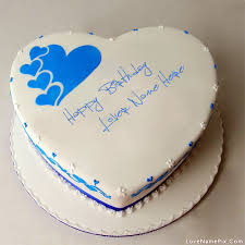 Write Name on Blue Hearts Birthday Cake for lovers Picture
