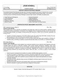 Creative Assistant Project Manager Resume Objective Download Construction Samples