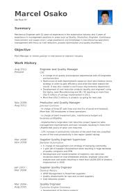 Engineer And Quality Manager Resume Samples Work Experience