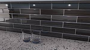 black and gray glass tile late 3x12 glass subway tile for