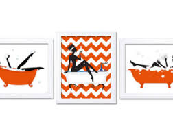 Chevron Print Bathroom Decor by Orange Bathroom Etsy