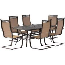 Hanover Manor 7-Piece Aluminum Rectangular Outdoor Dining Set With ... Buy Outdoor Patio Fniture New Alinum Gray Frosted Glass 7piece Sunshine Lounge Dot Limited Scarsdale Sling Ding Chair Sl120 Darlee Monterey Swivel Rocker Wicker Sets Rattan Chairs Belle Escape Livingroom Hampton Bay Beville Piece Padded Agio Majorca With Inserted Woven Shop Havenside Home Plymouth 4piece Inoutdoor Nebraska Mart Replacement Material Chaircarepatio Slings