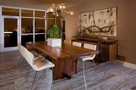 Bamboo Arrangement Ideas Dining Room Rustic With Brown Walls Table Live Edge Wood