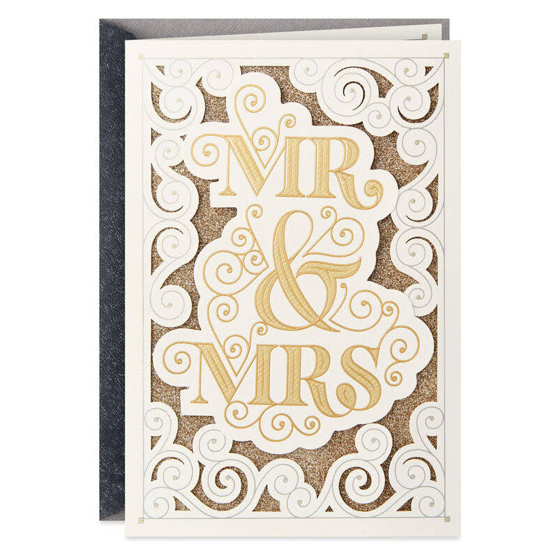 Mr. and Mrs. Gold Calligraphy Wedding Card
