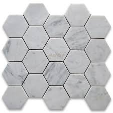 carrara marble tile italian white 3 inch hexagon mosaic