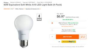 green deals up a 4 pack of philips a19 led light bulbs for