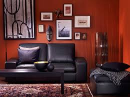 Red Black And Brown Living Room Ideas by Kivik Two Seat Sofa And Footstool With Grann Black Leather And