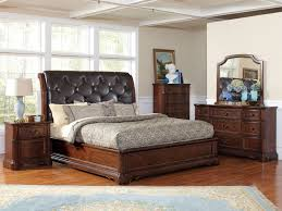Black Leather Headboard King by Bedroom Grey Leather Tufted King Bed With Wingback
