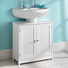 UNDER SINK BASIN STORAGE UNIT WHITE WOOD BATHROOM CABINET Amazonco