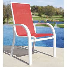 Stacking Sling Patio Chairs by Aluminum Sling Stacking Chair Red Sam U0027s Club