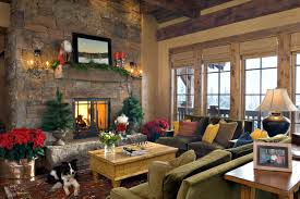 Cozy Rustic Living Room Design Interior With Stone Fireplace Mantels Christmas Decoration And Green Sofa Furniture Ideas Photos Gallery